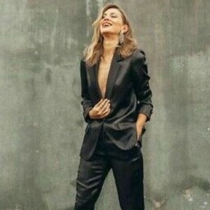 NWT Zara shimmering blazer with contrast lapel